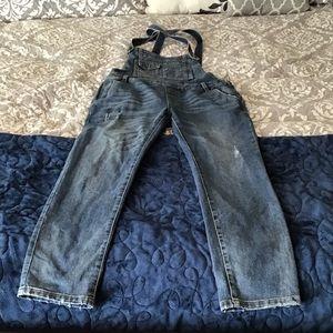 Free People Bib Overalls Distressed Jeans Skinny